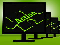 action on monitors showing acting - stock illustration