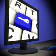 Key on monitor shows security Stock Illustration