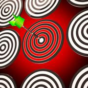 Bulls eye target shows focused competitive strategy Stock Illustration