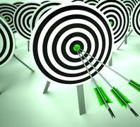 Triple target shows winning strategy and excellence Stock Illustration