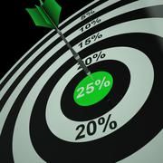 25 percent on dartboard shows aimed markdowns Stock Illustration