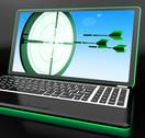 Stock Illustration of arrows aiming on laptop showing extreme accuracy