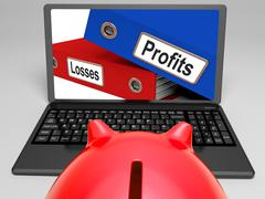 profits and looses files on laptop shows expenses - stock illustration
