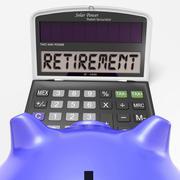 retirement on calculator shows elderly work retired - stock illustration