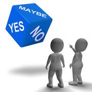 maybe yes no dice represents uncertainty and decisions - stock illustration