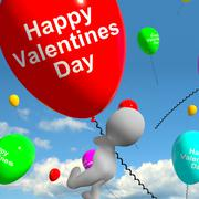 Happy valentines day balloons  showing love and affection Stock Illustration