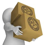 Stock Illustration of airmail stamp on boxes showing international deliveries