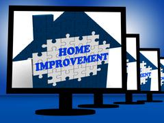Home improvement on monitors shows home design shows Stock Illustration