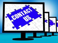 Contact us on monitors shows assistance Stock Illustration