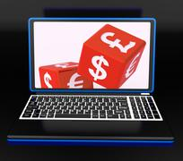 currencies dices on laptop showing global finances - stock illustration