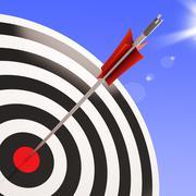 bulls eye target shows performance goal achieved - stock illustration