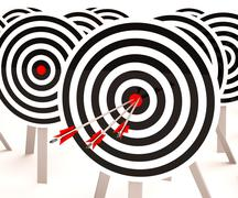triple target shows winning shot and achievement - stock illustration