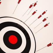Missed target shows failure unsuccessful aim Stock Illustration