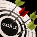 Stock Illustration of goals on dartboard shows aspired objectives