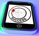 Stock Illustration of success on smartphone showing aimed improvement