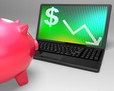 dollar symbol on laptop shows american monetary risks - stock illustration