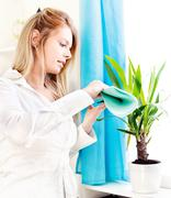 Woman clean leaves at home Stock Photos