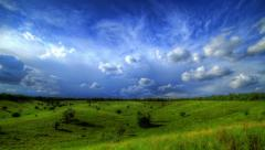 Timelapse HDR. Beautiful Landscape With Storm Clouds Stock Footage