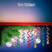 Abstract celebration background with christmas decorations and pine branch Stock Illustration