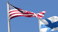 USA and Finland Flag Stock Footage