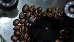 Coffee beans inside grinder. Stock Footage