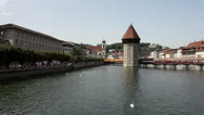 Stock Video Footage of Chapel Bridge of Lucerne, Central Switzerland (HD Pan)