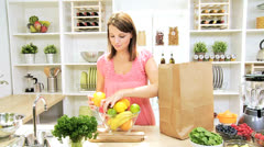 Female Filling Bowl Fresh Organic Fruit Stock Footage