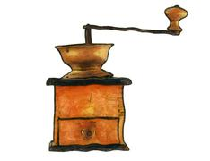 old coffee grinder - stock illustration