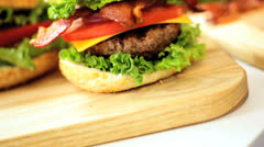 Close Up Classic Organic Bacon Cheeseburger Stock Footage