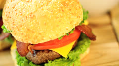 Classic Gourmet Bacon Cheeseburger Meal French Fries Stock Footage