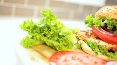 Organic Chicken Breast Sandwich Salad Ingredients Close Up Stock Footage