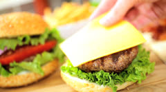 Tasty Meal Fresh bacon Cheeseburger Salad Close Up Stock Footage