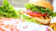 Stock Video Footage of Crunchy Fresh Salad Vegetables Chicken Breast Sandwich