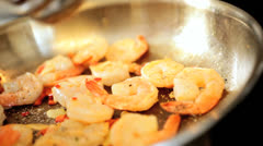 Cooking Healthy Fresh Seafood Prawns Stock Footage