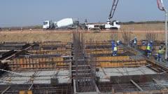 Concrete Boom Placer civil construction site NTSC Stock Footage