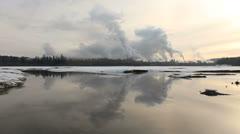 Pulp Mill, Nechako River, Prince George, BC Stock Footage