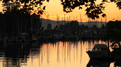 Vancouvers Coal Harbor Marina Dawn Stock Footage