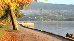 Stanley Park Seawall Autumn, Vancouver Stock Footage