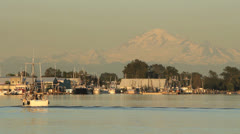 Steveston Fish Boat, Mount Baker Stock Footage