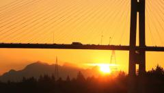 Morning Bridge Sunrise Commuter Traffic.mov Stock Footage
