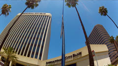 Low Angle Driving Past High Rise Buildings Downtown Long Beach CA 2 Stock Footage