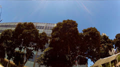 Low Angle Drive-by County Courthouse, World Trade Center Long Beach CA Stock Footage