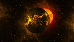 Orange Firey Planets Stock Footage