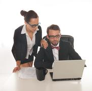 Business couple working Stock Photos
