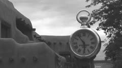 Spitz Clock Santa Fe  Plaza Black and White Timelapse 8 in series Stock Footage