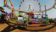Stock Video Footage of Pacific Park Amusement Park Carnival Rides Santa Monica Pier