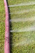 Wasting water - water leaking from a hole in a hose Stock Photos