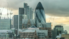 Gherkin Building in London Timelapse pulling back Slow zoom skyscraper Stock Footage