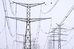 Power lines transmission Stock Photos