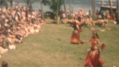 Old Vintage Film Hawaiian Hula Dancers Grass Skirts Shake Islands Beach Girls  - stock footage